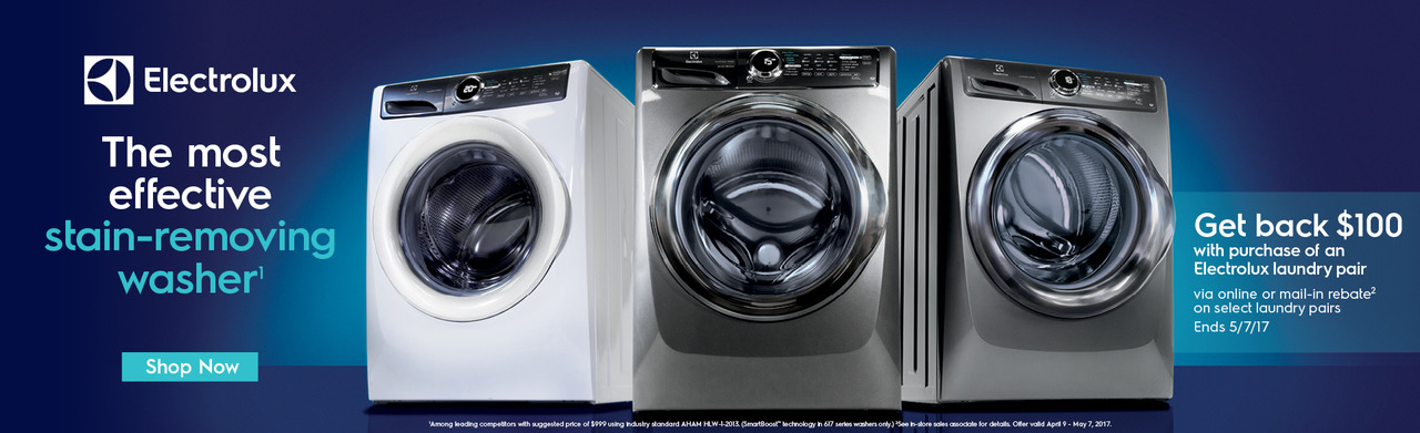 Save up to $100 with select Electrolux Laundry Purchase